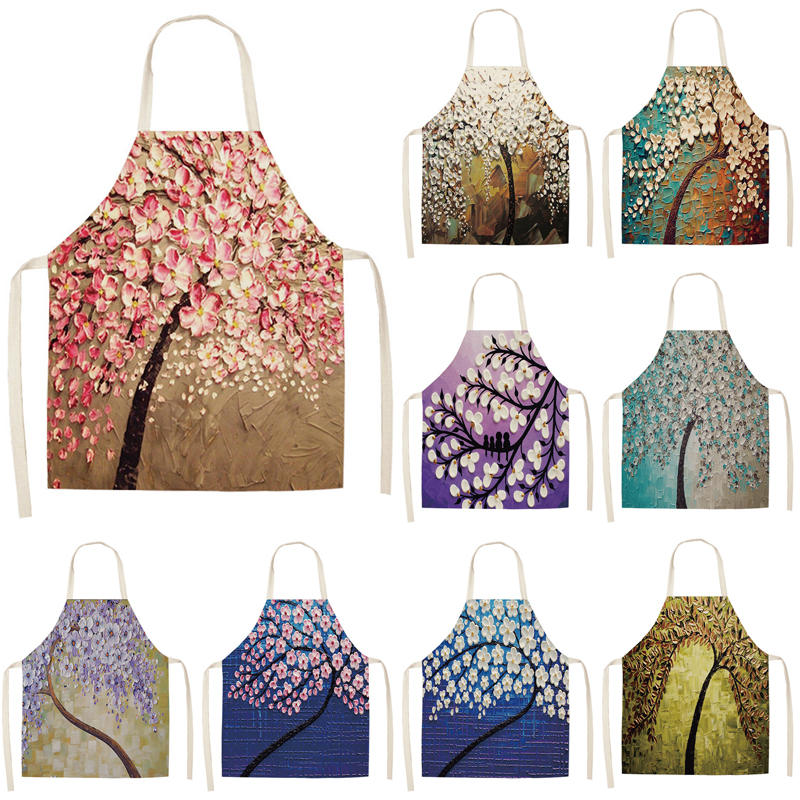 c22b423e691fd 1Pcs Pink Letter Flower Cotton Linen Aprons Home Cooking Baking ...