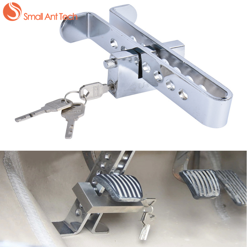 SmallAntTeach Universal Car Burglar Alarm Auto Brake Clutch Pedal Lock High Quality Stainless Steel For Car Alarm System eazyzking stainless steel no drill car styling fuel brake pedal for toyota reiz crown lexus gs is ls lhd auto accessories