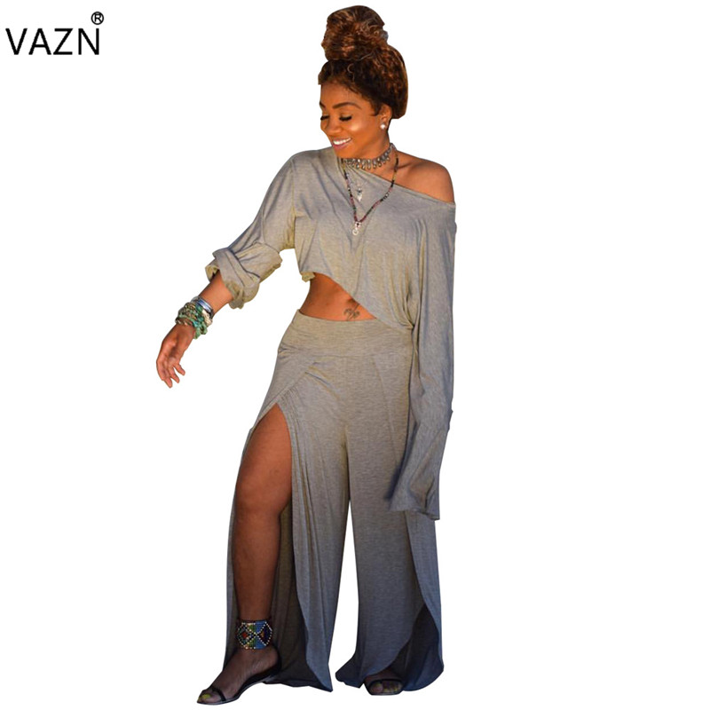 Reliable Vazn 2019 New Arrive Spring Hot Sexy Women 2-pieces Solid Sets Lady O-neck Full Sleeve Top High Split Wide Leg Jumpsuits Wny8747 Women's Sets