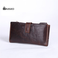 Baigio Men S Brown Flip Out Genuine Leather Card Holder Coin Purse Travel Wallet
