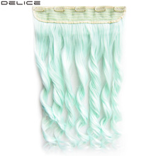 Delice 24 Women's Long Curly Hair Extension Mint Blue Pink Clip In One Piece Synthetic 5 Clips Hair Extensions elegant long synthetic stylish long shaggy curly clip in hair extension for women