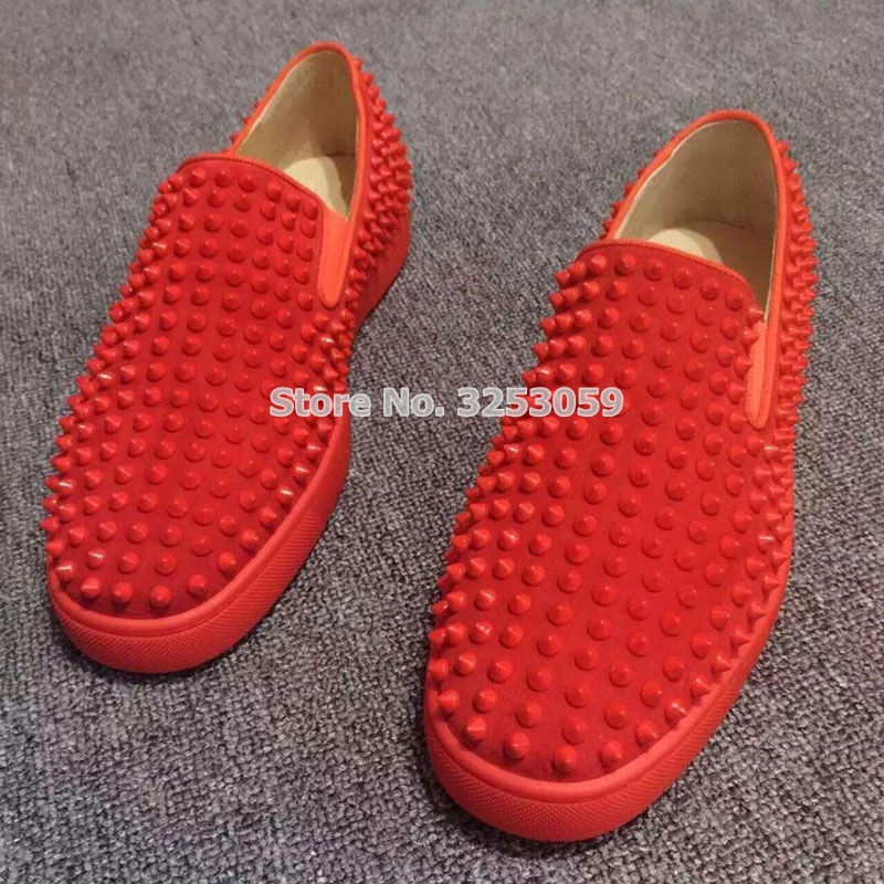 ALMUDENA High End Unisex Rivets Sneakers Punk Stylish Spikes Slip on Loafers Black Red White Studded Dress Shoes Size 35 45 - 4