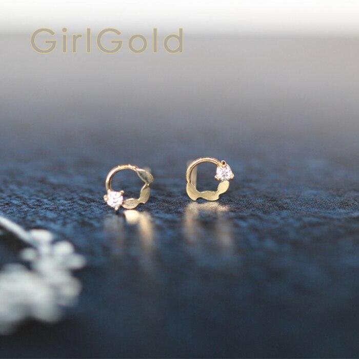 14K Solid Gold Wreath Crystal Stud Earring Mini Dainty Women Minimal Simple Style Gift Bridesmaid