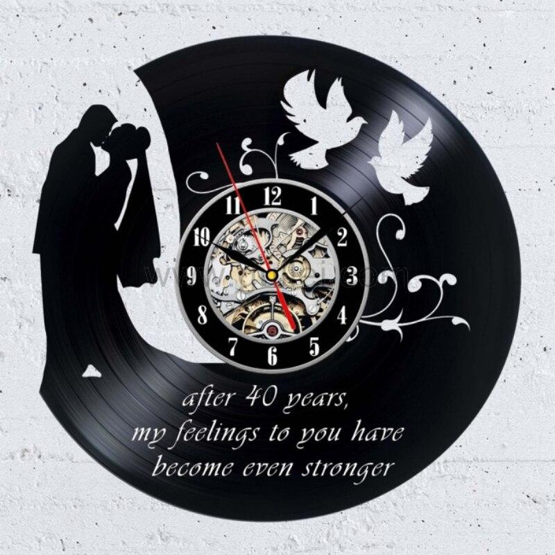Wedding Clock Gift: 1Piece Vinyl Record Wall Clock 40th Wedding Anniversary