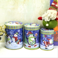 Fashion 3 Pcs Set Gifts Printed Christmas Cylindrical Cartoon Tin Box Style Random Candy Box Receive