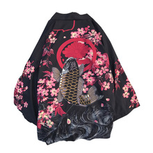 Japanese Harajuku Vintage Shirt Men Hip Hop Shirts Cherry Blossom Carp Streetwear Collarless Three Quarter Casual Tops Men цена 2017