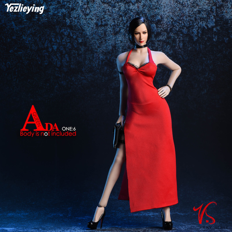 Toys & Hobbies 18XG14 Ada Wong Sexy Red Evening Dress Halter Skirt Costume Cheongsam for 12 inches Collectible Action Figure DIY mnotht 1 6 soldier dress cheongsam slit skirt sexy model girl evening dress clothes black blue toys for 12 action figure m2n