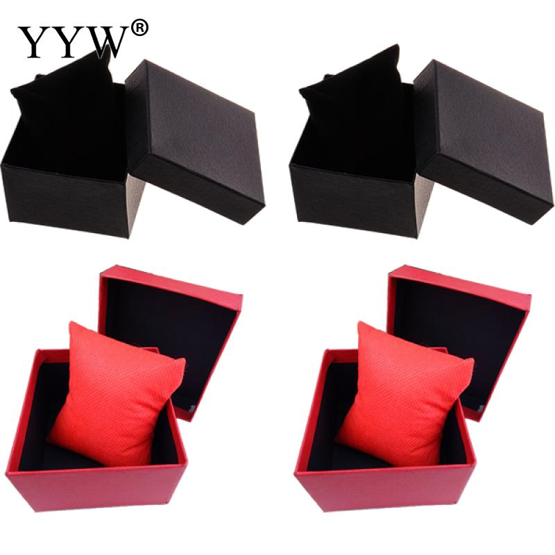 1 Pcs Cardboard Jewelry Display Box With Non-Woven Fabrics Jewelry Boxes And Packaging Accessory Black Red Color 88x82x50mm