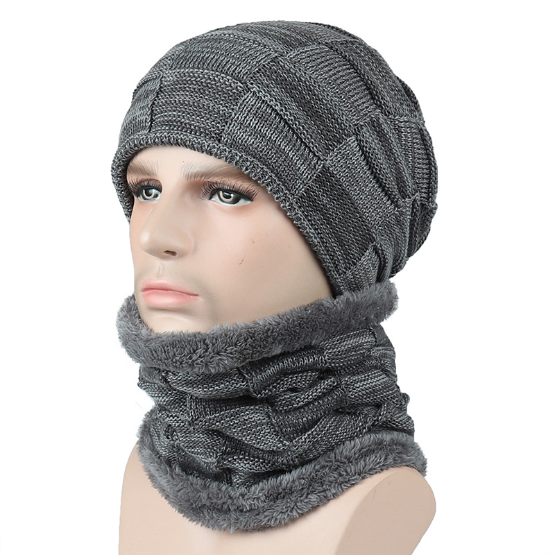 219b2022cf6 2019 New Men Women Knit Hat And Shawl Two Set Winter Knitted Thicken ...