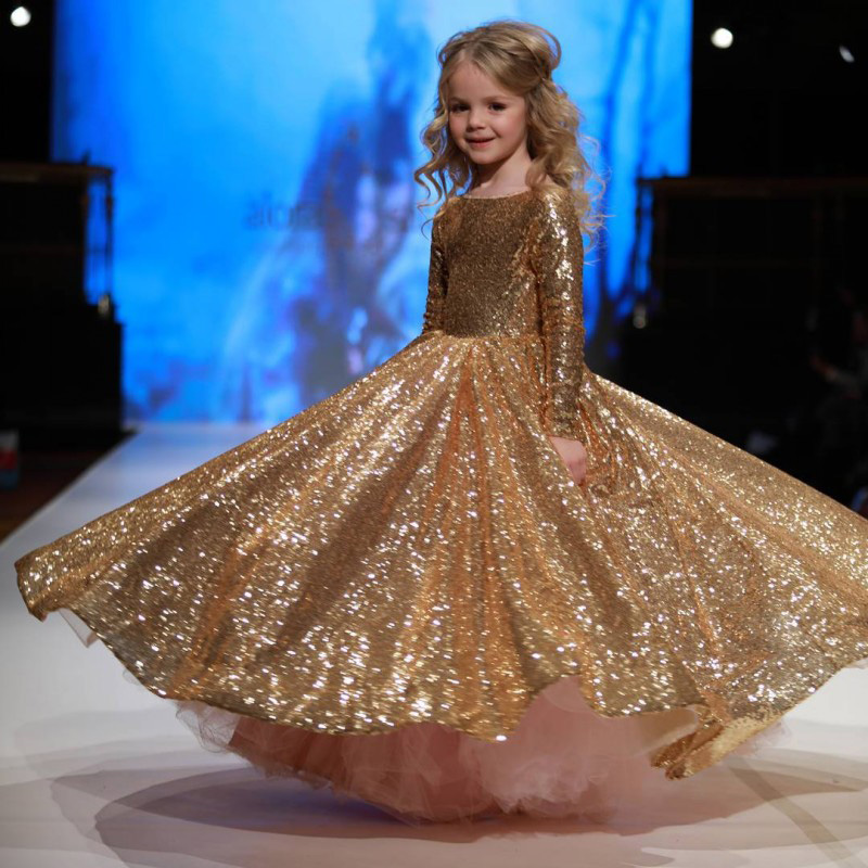 Blingbling Flower Girls Dress Gold Sequined Ball Gown Luxury Kids Girl Princess Dresses First Communion Gowns for Wedding A37