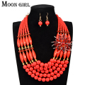 4 color Nigerian wedding african beads jewelry set Crystal and acrylic beads flower statement choker necklace sets for women