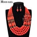 4 cores do casamento nigeriano beads africanos jóias conjunto de cristal e acrílico beads flor conjuntos de colar declaração choker para mulheres