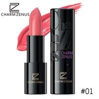 CHARM ZENUS Brand Pink Waterproof Lipstick Long Lasting Beauty Moiturizer Women MakeUp Smooth Silky Lip Stick