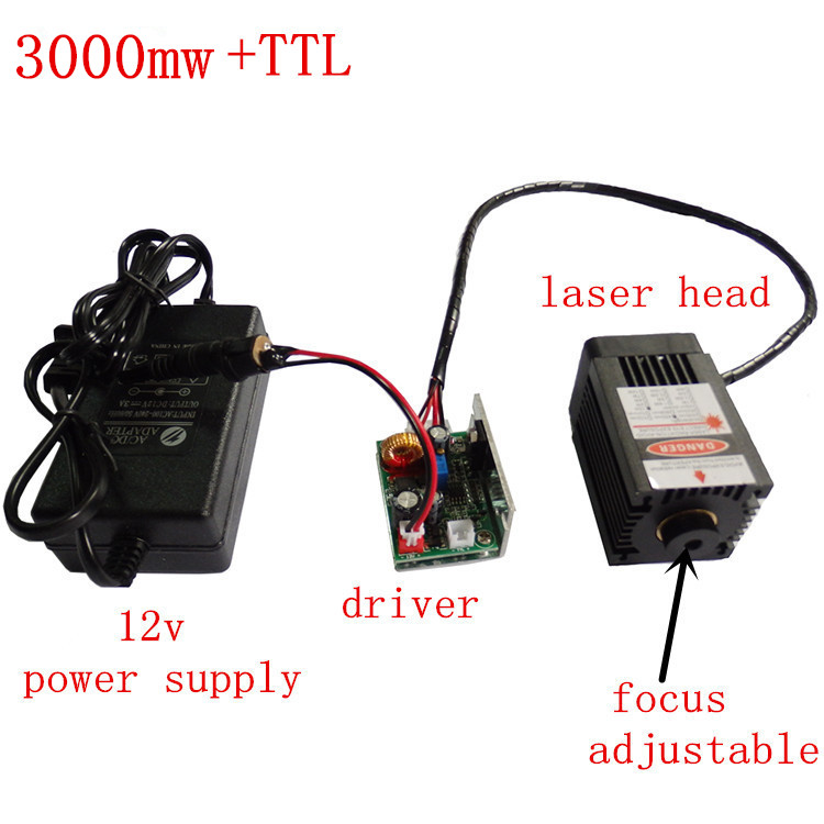 3000mw Laser Engraving Machine For High Power 450nm Focused Blue Laser Module The Laser Engraving and Cutting TTL Module