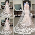 Fast Delivery Wedding Veils Long Elegent Veil With Lace Bridal Gown Veil Beauty Bride One Layer Wedding Veil Hot Sale 2015