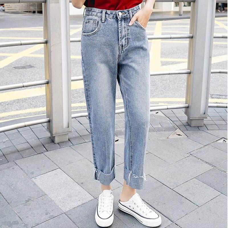 37a2d5228 JUJULAND Vintage señoras novio jeans para mujeres Pantalones vaqueros de  cintura alta azul casual ...