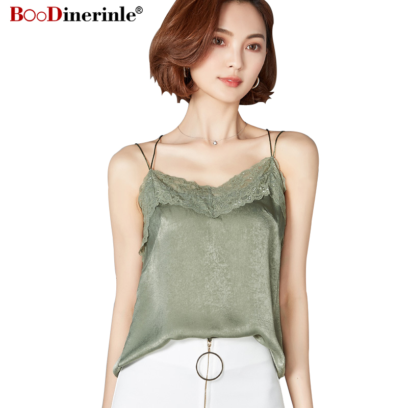 ddac939932f 2018 Bright silk Camisole Female Summer Bottoming Shirt Plus Size White  Satin Inner Ride Sexy Lace Loose Causal Tops 2XL T037-in Camis from Women s  ...