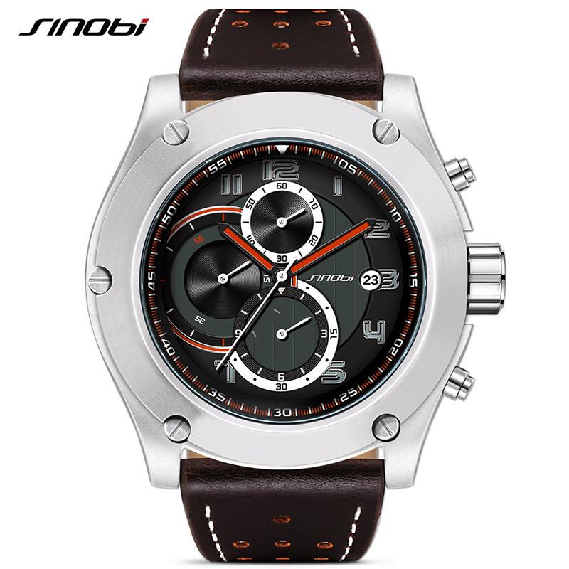 Prix pour SINOBI Marque Sport Hommes Montre De Luxe Mâle En Cuir Étanche Chronographe Horloge À Quartz Montre-Bracelet Militaire Hommes Horloge Saat