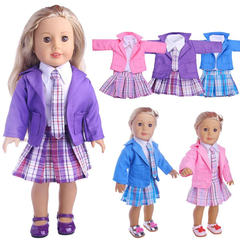Drop shipping 4PC Student Clothing Pleated Dress Uniform Outfit For 18 inch American Girl Doll clothes for baby born doll pullip american girl doll clothes halloween witch dress cosplay costume for 16 18 inches doll alexander dress doll accessories x 68