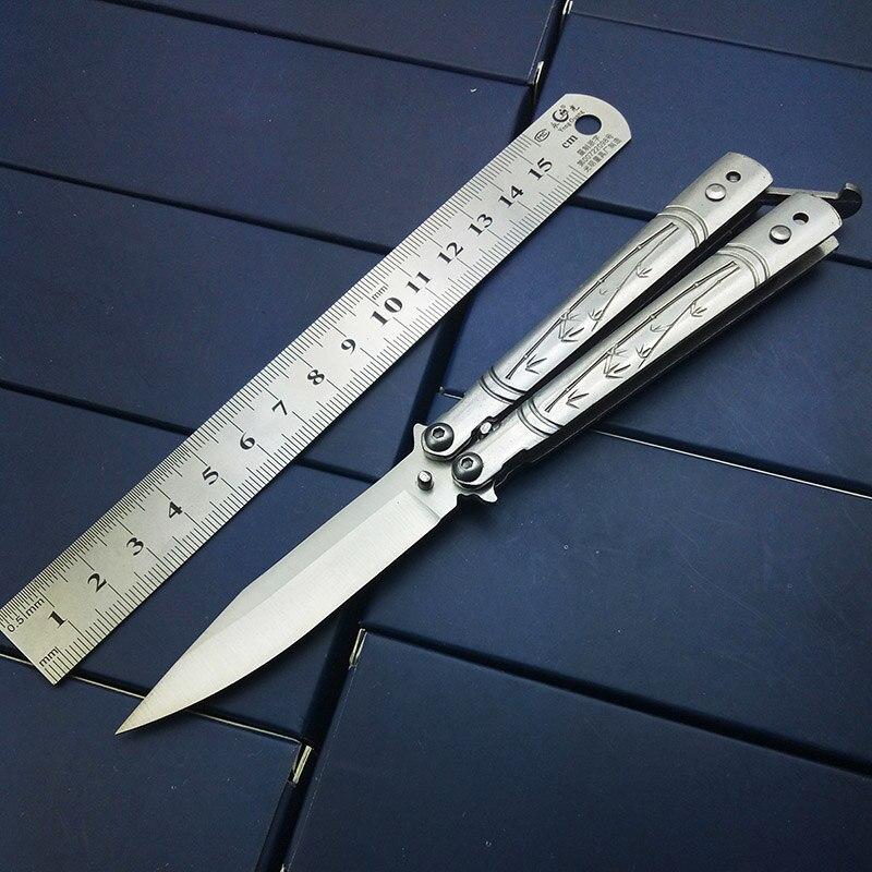 Supervivencia táctica cuchillo al aire libre burtterfly en Cuchillos Bali canción no Sharp Blade un Sharp ened inoxidable 440c CS go práctica cuchillas