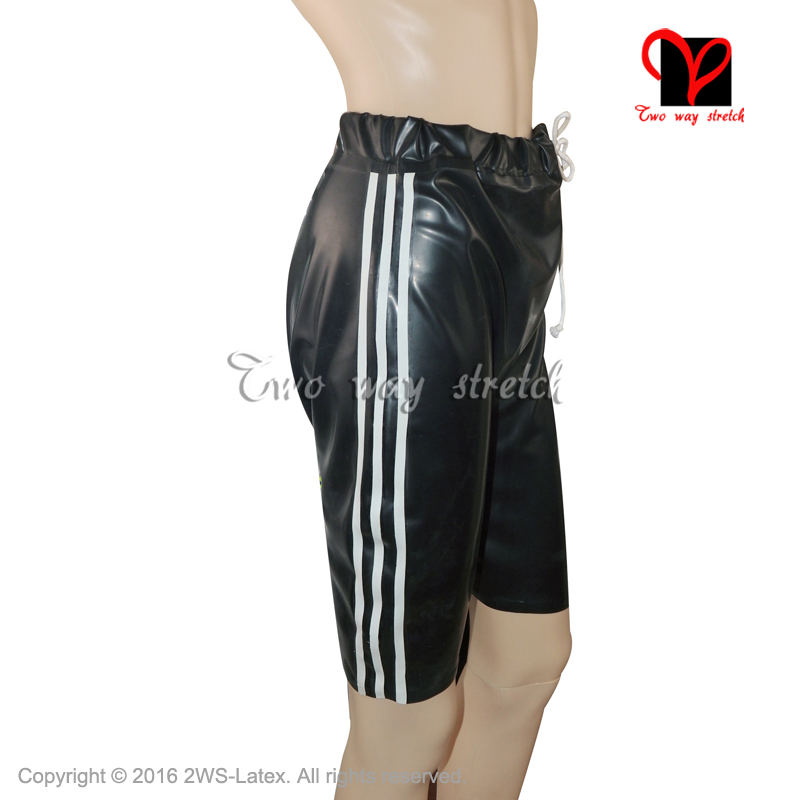 Black with White Latex Bermuda with elastic bands Sexy Panties Latex Boxer short Rubber pants Hotpants