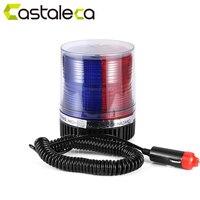 Castaleca 1X LED Emergency Warning Strobe Light 12V Red And Blue Magnetic Base Car Truck Roof
