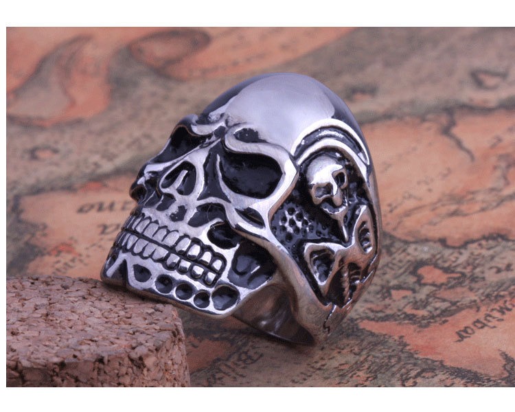 2014 Fashion Ring Stainless Steel Rings For Man Big Tripple Cool Skull Ring Punk Biker Jewelry FS US Size 8-11