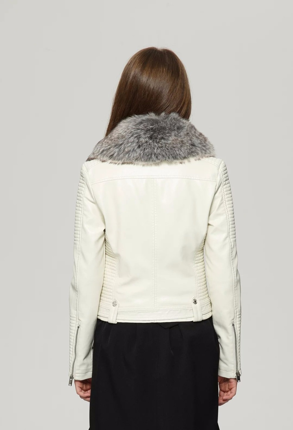 Free Shipping Women s casual European American style short paragraph women s white turn down collar fur leather jacket