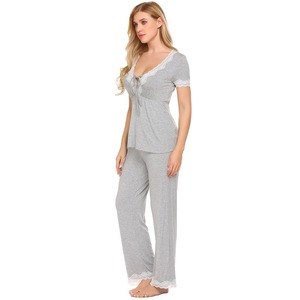 Image 4 - Ekouaer Women Casual Pajamas Set Loose Short Sleeve Sleepwear Lace Patchwork Elastic Waistband Solid Pajamas Set Female Nighties