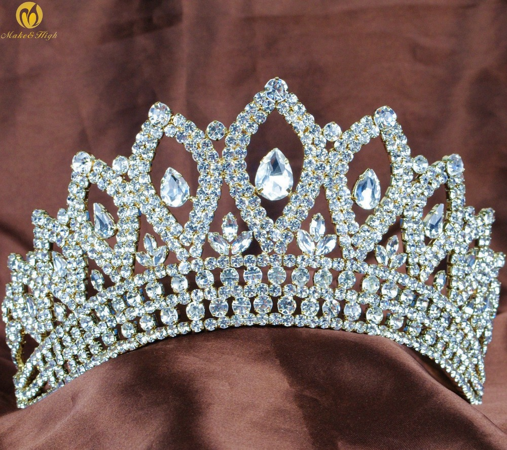 Gold Miss Pageant Tiara Crown Wedding Bridal 3.5