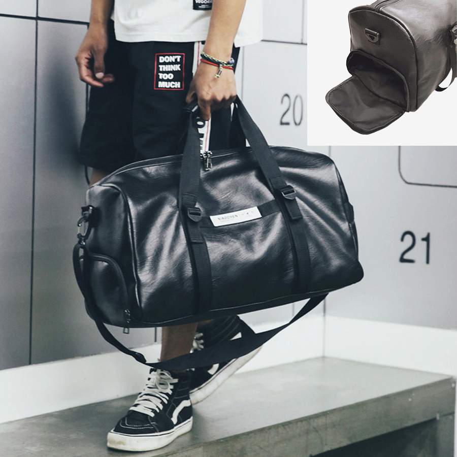 Gym Bag Leather Women Fitness Shoe Compartment Men Duffle Shoulder Bags Waterproof Travel Training Large Sport Handbag