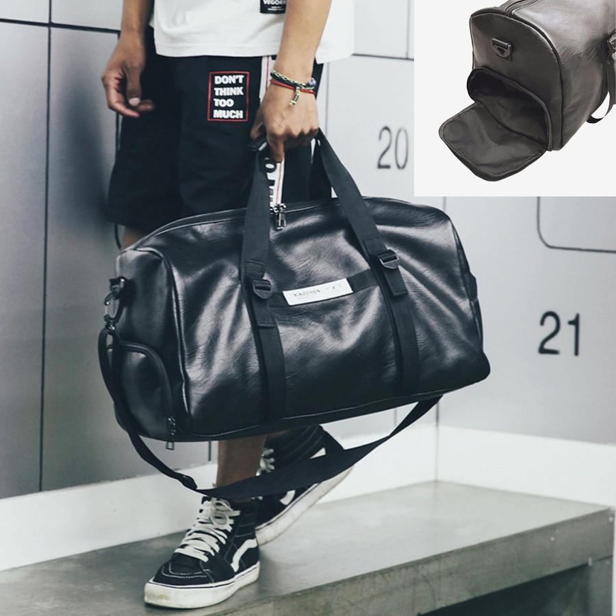 NEWBOLER bolso cuero gimnasio mujeres Fitness compartimento para zapatos hombres Duffle hombro bolsas de viaje impermeable formación deporte grande bolso