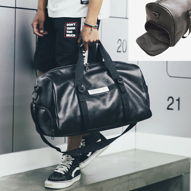 c41a14f634 ... NEWBOLER Gym Bag Leather Women Fitness Shoe Compartment Men Duffle  Shoulder Bags Waterproof Travel Training Large ...