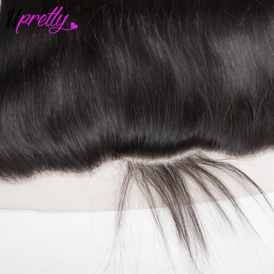 Upretty Hair Peruvian Straight Hair 4 Bundles with Frontal 100% Human Hair Extensions 13*4 Ear to Ear Lace Frontal with Bundles