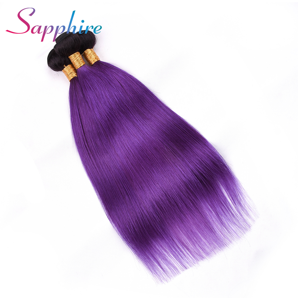 SAPPHIRE Pre-colored Ombre 100% Human Hair Weave One Pack 3 Pcs Peruvian Straight Hair T/1B Purple Ombre Color Remy Human Hair