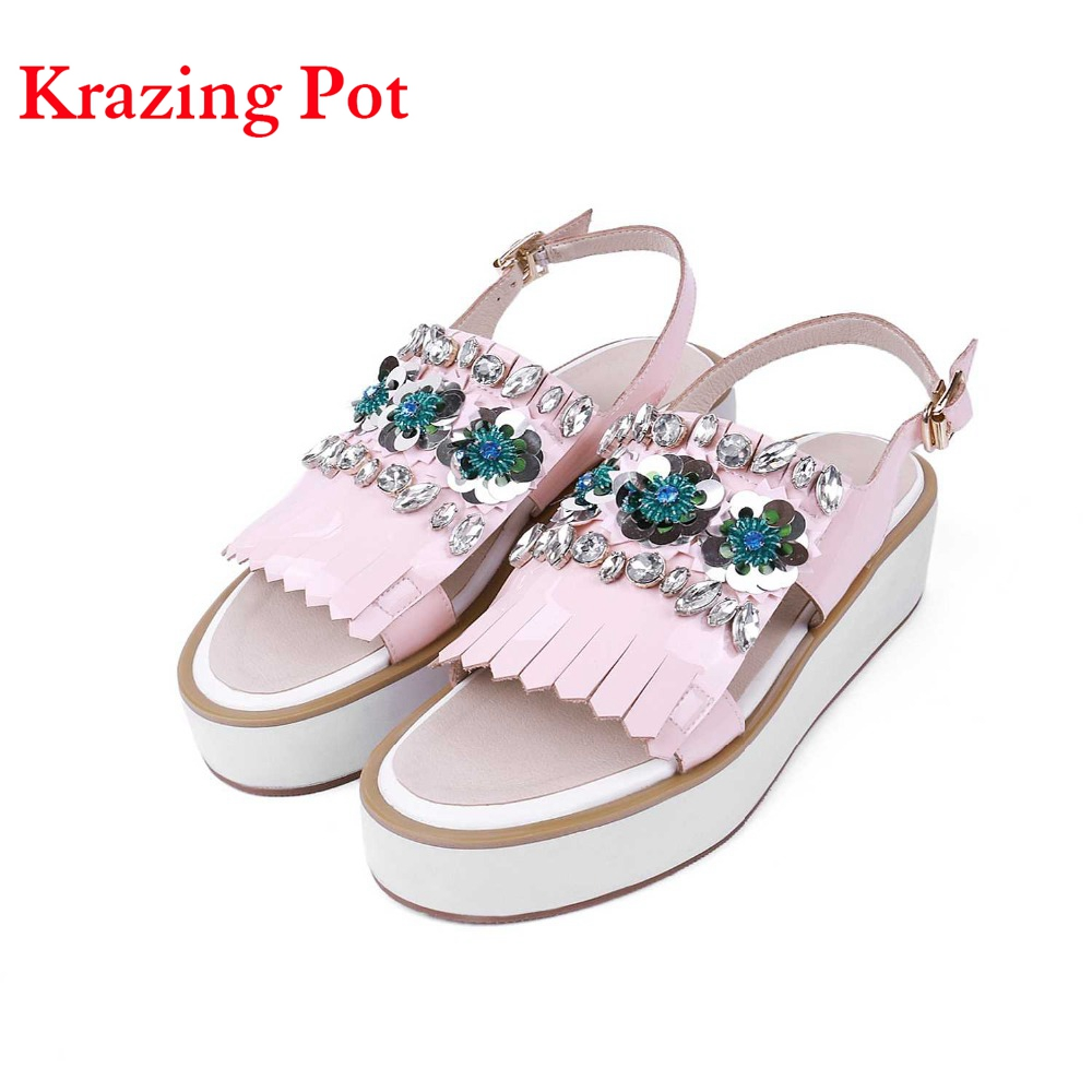 2017 Superstar Genuine Leather Peep Toe Wedges High Heels Beading Flowers Platform Women Tassel Crystal Increased Sandals L18  2017 superstar cow leather platform european ankle strap peep toe print mixed colors classic women increased runway sandals 0 4
