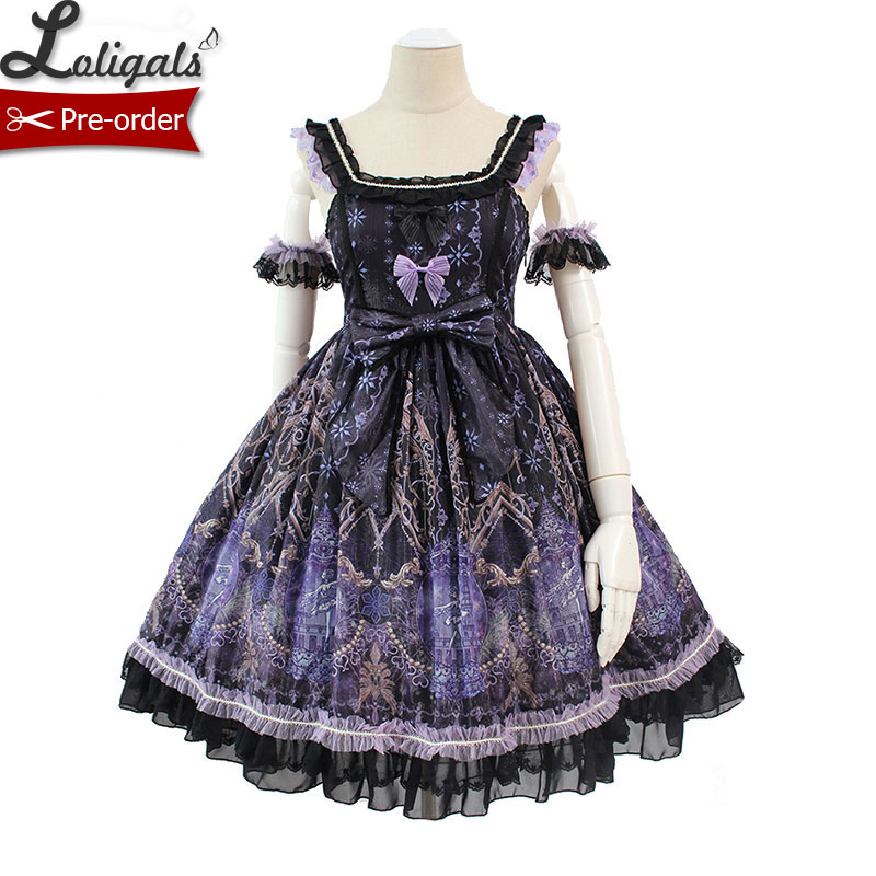 Snow Night Ballet Gorgeous Lolita JSK Dress Printed Sleeveless Party Dress by Alice Girl Pre order