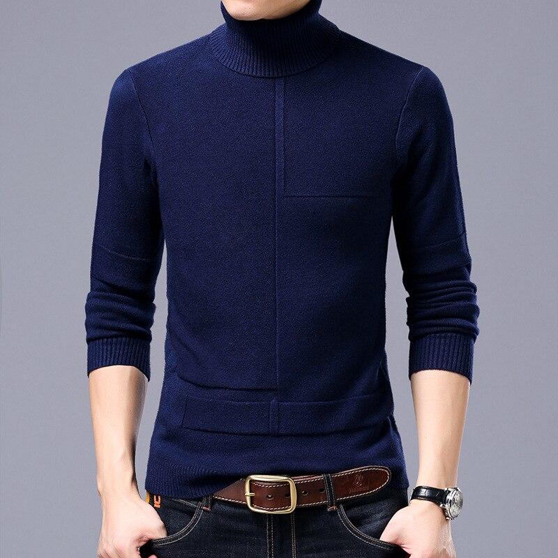 New Style Autumn Winter Men Smart Casual Sweaters Men Turtleneck Men's Render Knitted Sweater Tops Tees Men's Japan Retro FS9602