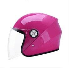 2017 Mulheres Abrir Rosto Meio Rosa Motocicleta Motorbike Capacete & Viseira do Capacete Motocross Moto Capacete