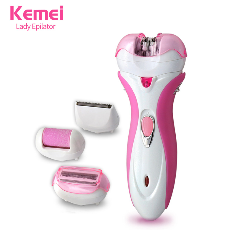 kemei 4 in 1 Multifunctional Electric shaver Rechargeable Women Epilator Hair Removal Foot Care Tool razor Bikini legs KM-2531