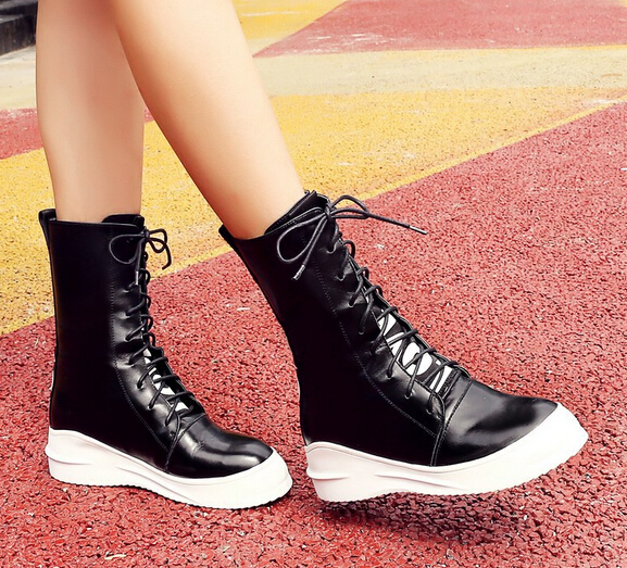 Women Autumn Winter Wedges Chunky Heel Genuine Leather Round Toe Lace Up 2015 New Fashion Ankle Boots Size 34-39 SXQ0905 women autumn winter genuine leather thick mid heel side zipper round toe 2015 new fashion ankle boots size 34 39 sxq0905