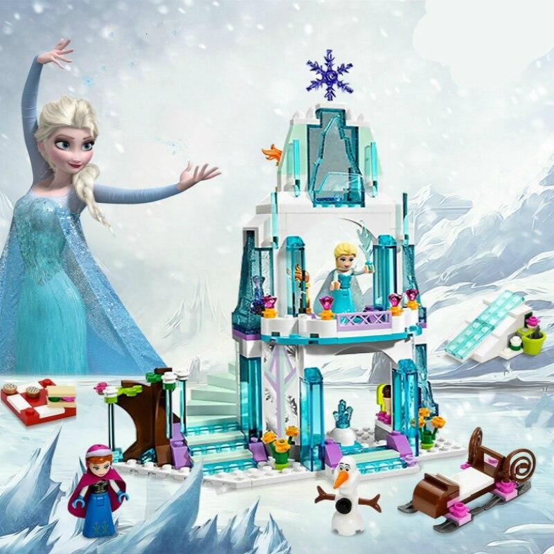 JG301 SY373 Anna Elsa Snow Queen Elsa's Sparkling Ice Castle Building Toys Blocks Brick Compatible Friends with Lepin Toys lele 79168 elsa queen lainio snow village bricks toys minifigures building block toys best legoelieds
