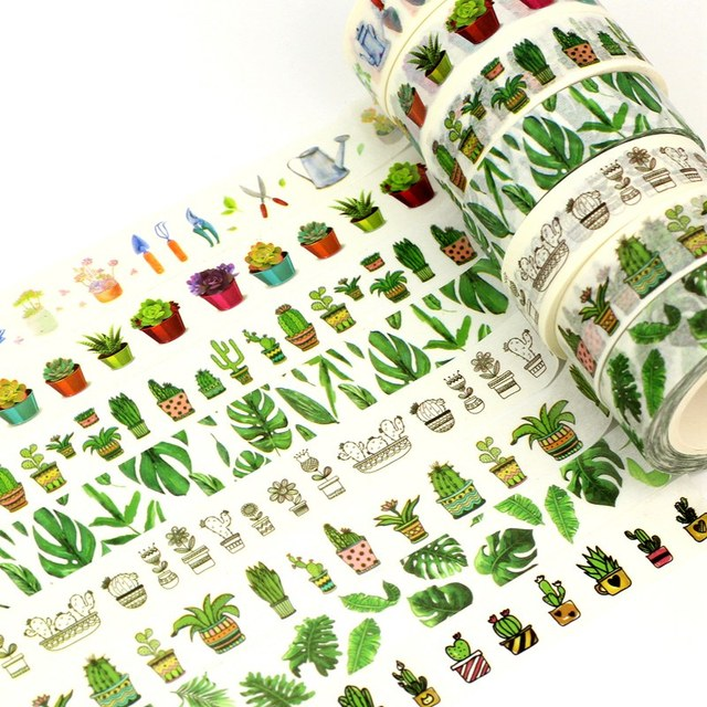 10M Succulent Cactus set Washi Tape Planner Scrapbooking Cute Cinta Adhesiva Decorativa Masking Tape Japanese Office Stationery