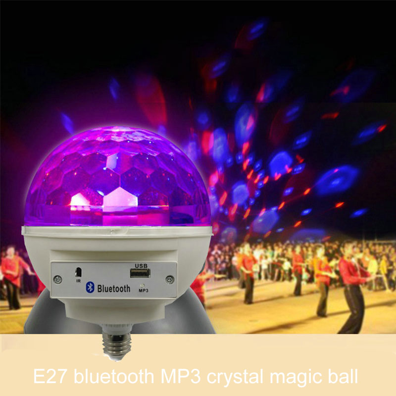 E27 LED Music Crystal Magic Effect Ball Light RGB Lamp Mp3 Bluetooth Music Led Stage Light AC110-240V 6W Disco Dj Stage Light шарф ea7 285543 7a393 00010