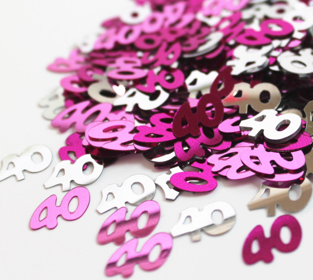 50g Happy Age 40th Birthday Party Table Decoration Kits 13mm Pink Silver Sparkle Number 40 Confetti Foil Sprinkles
