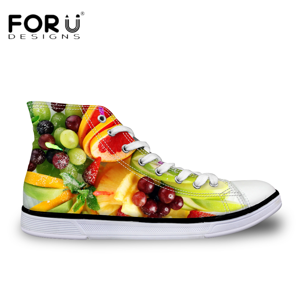FORUDESIGNS 3D Fruit Women Casual Canvas Shoes Fashion High Top Woman Flats Vulcanized Shoes Lace-up Ladies Leisure Shoes xaxbxc 2018 new summer fashion black lace up derby shoes flats shoes women leisure shoes woman ladies party wedding shoes
