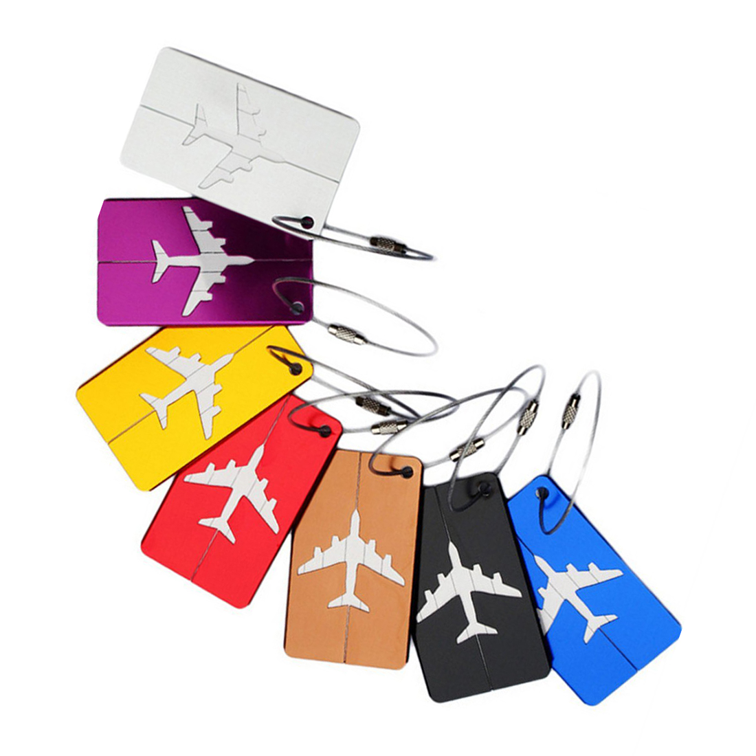 Luggage Tags suitcase Tags 7 in 1 aluminum airplane pattern