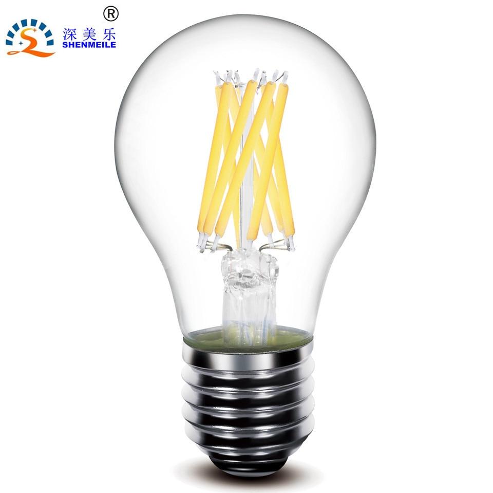 1pcs RXR A19 A60 E26 E27 2w 4w 6w 8w 360Degree Glass Clear Edison Retro LED Filament Lamps Bulb Light  220V 110V AC CE