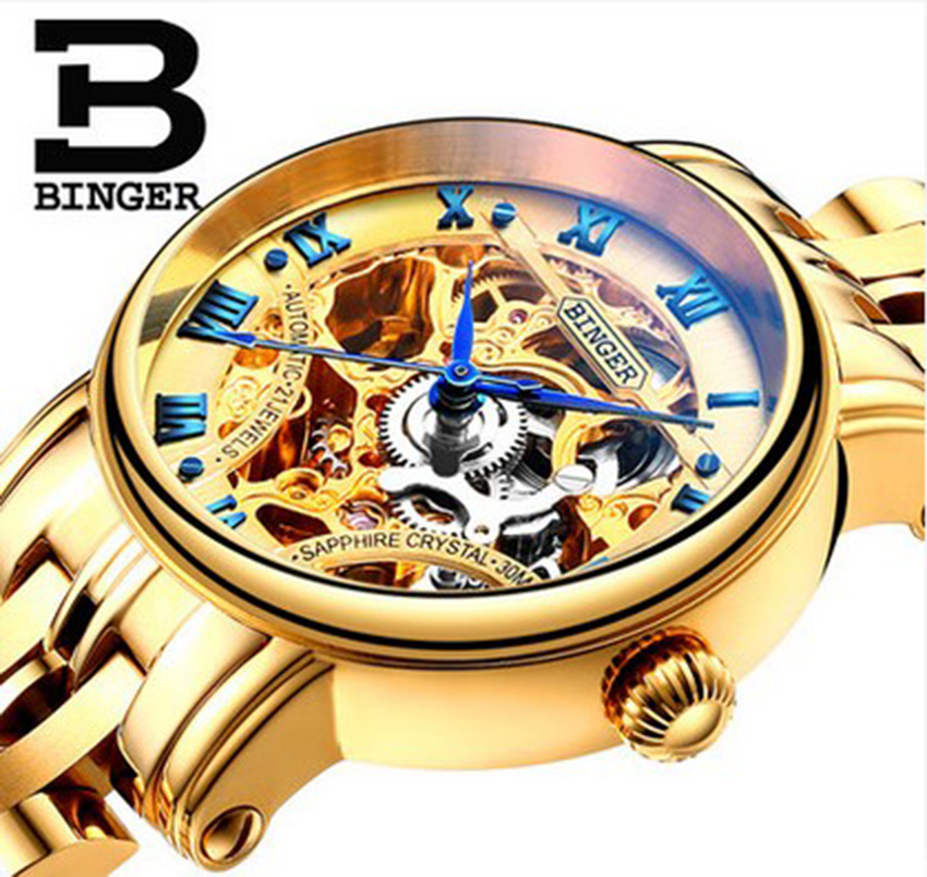 Genuine Luxury BINGER Brand Women automatic mechanical self-wind full steel double-sided hollow waterproof male fashion watch women favorite extravagant gold plated full steel wristwatch skeleton automatic mechanical self wind watch waterproof nw518