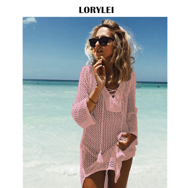 Sexy Lace Up Knit Croceht Beach Tunic Women Summer Beachwear Bikini Cover Up Plus Size Tassel Mesh Mini Dress Pareo Plage N188